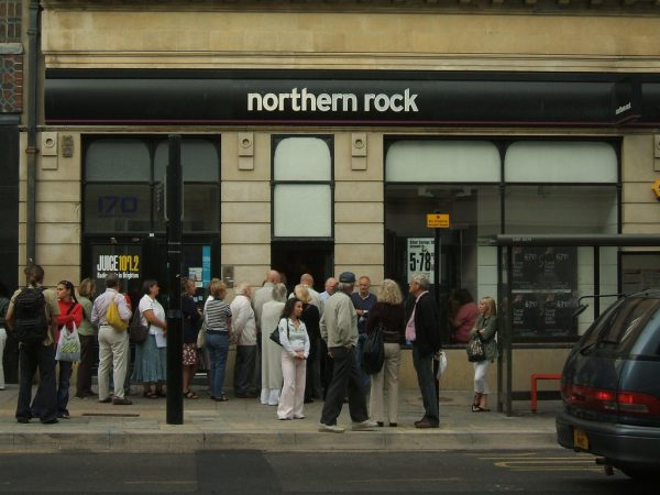 Anxious customers outside a branch of Northern Rock Bank in Brighton. After requesting liquidity support from the Bank of England in 2007, the bank was nationalised in February 2008. [photo: Dominic Alvez/Flickr]