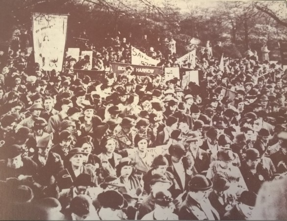 Guild members assembled at a massive pacifist service at Regents Park in London on Armistice Day in 1938