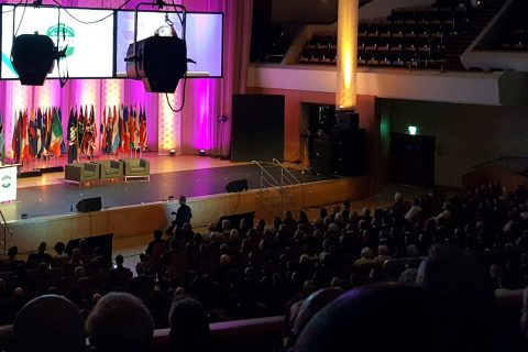 Anne Cochran, chair of Woccu speaks at the opening ceremony of the World Credit Union Conference 2016 in Belfast on Sunday 17 July.