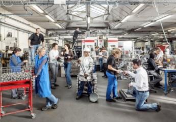Workers of Fonderie de la Bruche, a worker owned aluminium co-operative in France (c) Les scop