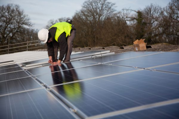 69 solar panels were installed on the roof of a cow shed by local energy co-op REPOWERBalcombe (Image: 10:10)