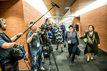 Dame Pauline Green (centre) arriving at the 2014 Summit