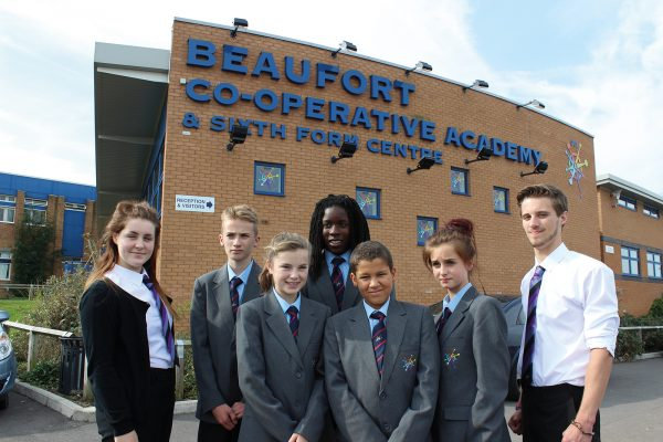 Beaufort co-operative academy students and building in 2013.