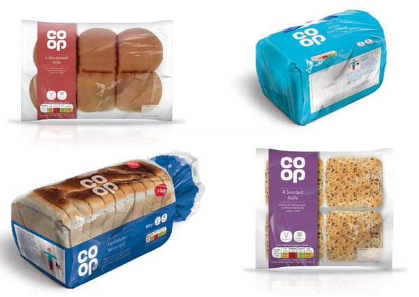 The Co-op's new branding on its bread selection