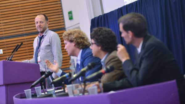 Paul Monaghan (Co-operative Energy), Siward Zomer (REScoop.eu), Josh Roberts (ClientEarth) and Dr Andreas Wieg (DGRV) at the 2016 Community Energy Conference