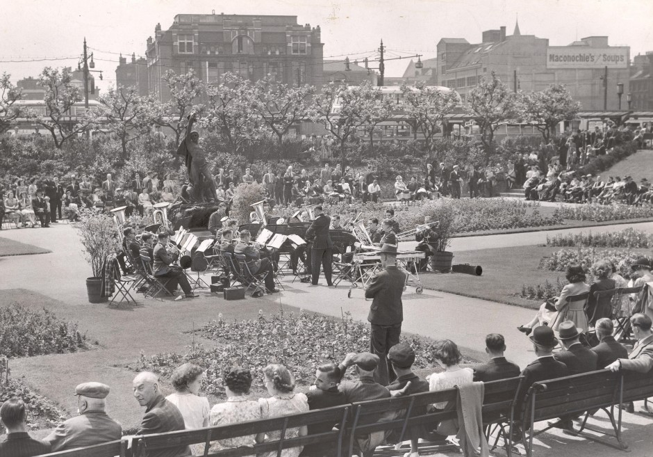 The CWS Manchester Band in Picadilly Gardens, Manchester, 1949
