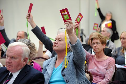 Members cast votes at East of England's annual meeting