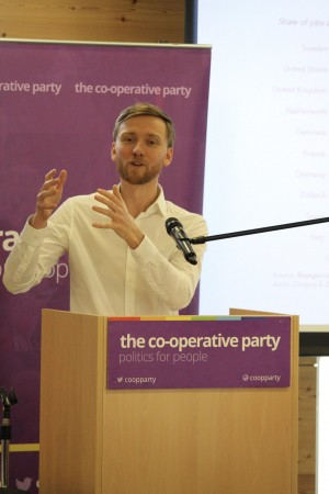 Torsten Bell delivering his speech at the conference (Photograph: the Co-operative Party)
