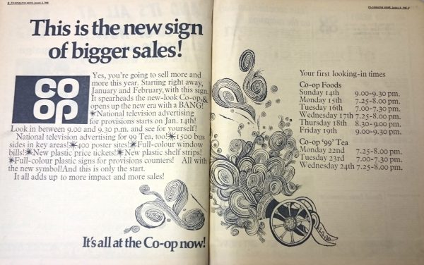 The launch of the original Co-op cloverleaf in Co-operative News, 2 January 1968