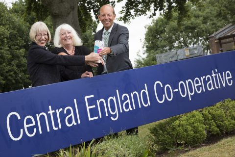 Central England president, Elaine Dean and chief executive Martyn Cheatle with Hilda Hayo, chief executive, Dementia UK, which is the society's charity partner