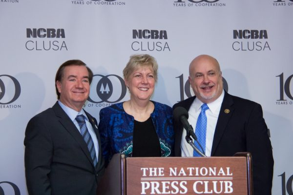 Caucus co-chairs Ed Royce (left, Republican) and Congressman Mark Pocan (Democrat) with Deb Trocha (executive director of the Cooperative Development Center, Indiana)