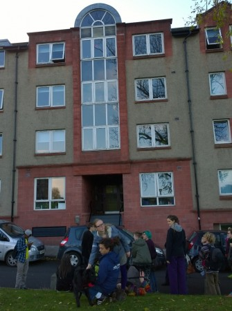 Students visiting the Edinburgh Student Housing Co-operative as part of their tour of Edinburgh co-ops.