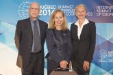 Bruno Roelants, secretary general of CICOPA; Monique Leroux, CEO Desjardins and Sandra Polaski, deputy director-general at the ILO at the unveiling of the report