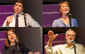 Clockwise from top left: Andy Burnham, Yvette Cooper, Jeremy Corbyn and Liz Kendall at the Co-operative Party hustings (Images: Andrew Wiard/www.reportphotos.com)