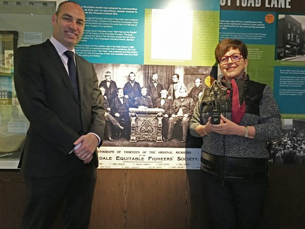 Dame Pauline Green with Simon Parkinson, principal of the Co-operative College at the Rochdale Pioneers Museum on Toad Lane.