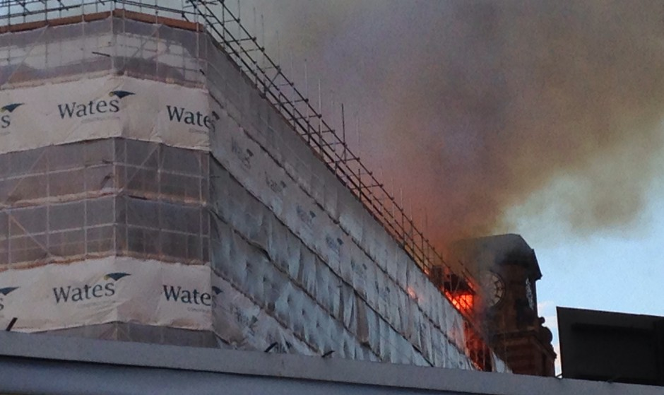The Hanover Building fire broke out on the roof adjacent to Balloon Street