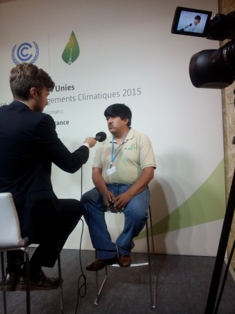 Luis Martinez is being interviewed at the Climate Change conference in Paris