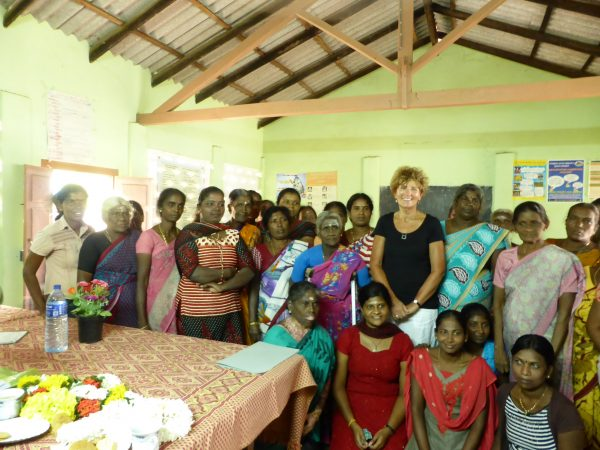 Jane Collis with the participants in a training session in Sri Lanka.