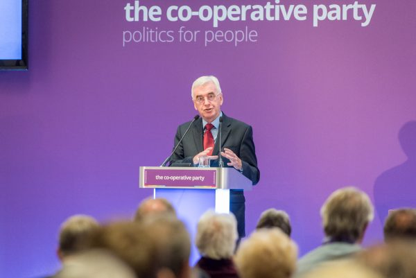 John McDonnell delivering his speech at the Co-operative Party conference in Cardiff (c) Co-operative Party/Natasha Hirst