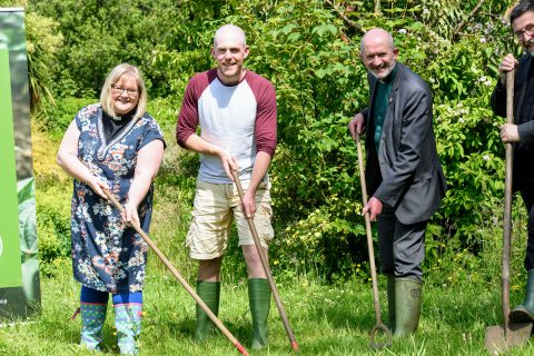 Jonny Hanson, managing director of Jubilee Farm with project supporters
