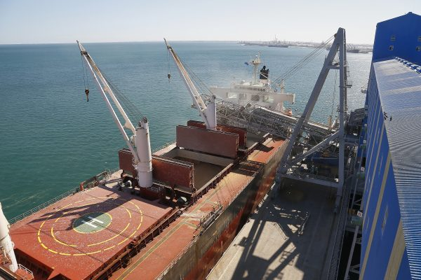A ship loads at the co-op's Kwinana grain terminal in Perth