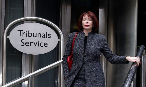 Kath Harmeston outside the employment tribunal offices in Manchester