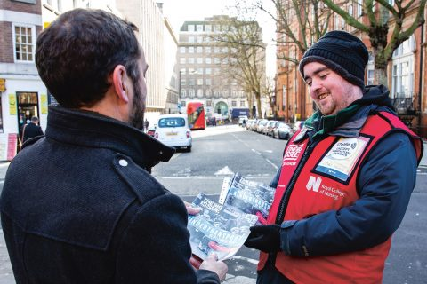 The Big Issue vendor