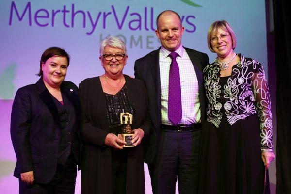 Merthyr Valleys Homes at Social Enterprise UK Awards. L-R: Susan Calman (Comedian), Frances Bevan (vice chair of MVH board), Paul Allen (director of assets), Rachel Hubbard (head of social impact practice)