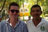 Michael Gidney (left) with Fairtrade banana producer Albeiro Alfonso Cantillo