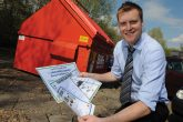 Mike Pickering at a recycling point set up by Midcounties and Biffa