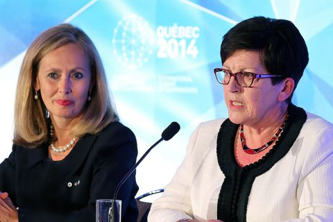 Monique Leroux, chair of the board, president and CEO of Desjardins Group, and Dame Pauline Green, president of the International Co-operative Alliance, co-hosts of the International Summit of Cooperatives (CNW Group/2014 International Summit of Cooperatives)