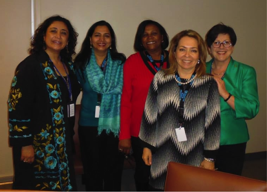 Simel Esim, Savitri Singh, Xiomara Nuñez, María Eugenia Pérez Zea and Dame Pauline Green at the joint International Co-operative Alliance and International Labour Organization side event to the 59th Session of the Commission on the Status of Women