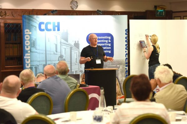 Nic Bliss speaking at the CCH annual conference in Cardiff
