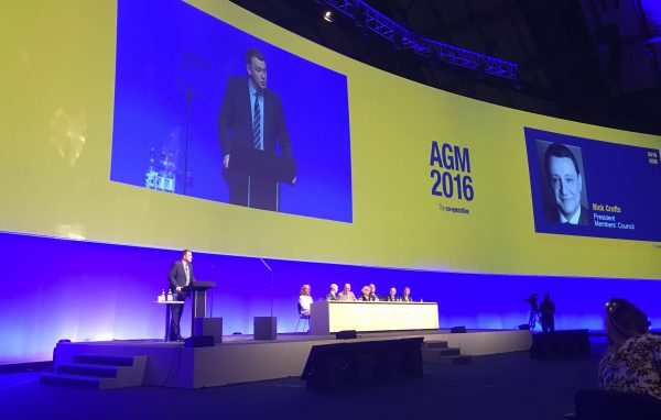Nick Crofts, president of the Co-op Group's National Members' Council, addressing delegates at the 2016 AGM