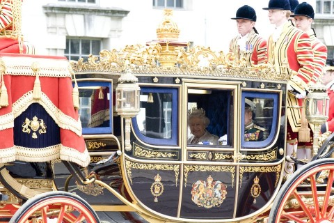 Queen Elizabeth II arriving at the 2016 State Opening of Parliament
