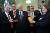At the parliamentary event are Roger Grosvenor, executive officer for retail at East of England; Colin Barrett, vice president East of England; Sir Bob Russell, Kevin Warden; and Sally Chicken, East of England president