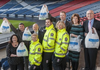 The launch event for the new uniforms at Hampden Park, Scotmid's biggest donation to date.  [photo: Phil Wilkinson]