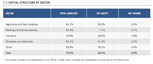 World Cooperative Monitor figures on capital structure by sector (Graphic: World Cooperative Monitor)