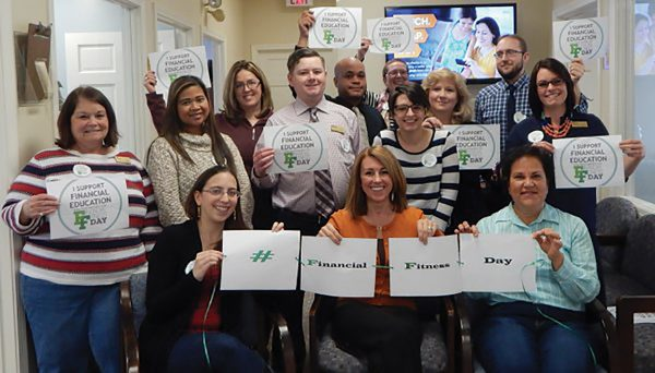 Staff from Pioneer Valley CU fundraising for Financial Fitness Day