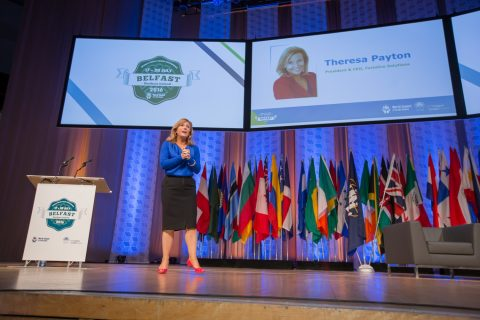 Theresa Payton giving her speech at the World Credit Union Conference in Belfast. [photo: Woccu]