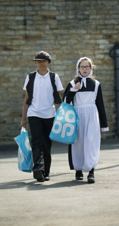 Sophie Greenwood, right, and Jay Jay Rae of Meanwood Primary school [photo: Jon Super]