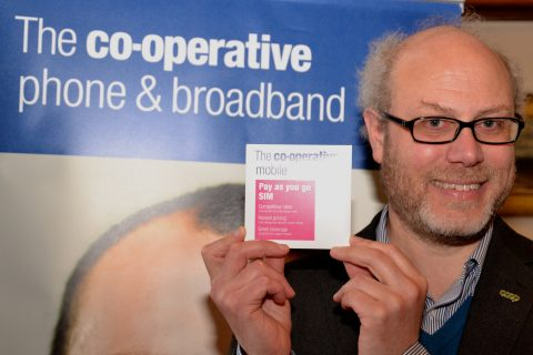 Vivian Woodell CEO of the Phone Co-op with the newly-launched PAYG sim card