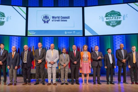 (l-r) The 2016–2017 World Council board of directors: Daniel Burns (chair), Patrick Jury (first vice chair), Brian McCrory (second vice chair), Manfred Dasenbrock (secretary), Bruce Foulke (treasurer) followed by directors Jaime Chavez Suarez, Mark Degotardi, Martha Durdin, Rafa' Matusiak, Dr. Chulsang Moon, Aaron Moses, Steven Stapp, and George Ototo (not pictured). [photo: Woccu]