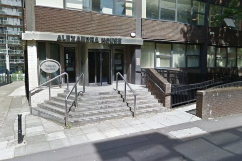 The tribunal case is taking place at Alexandra House in central Manchester