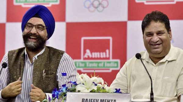 Rajeev Mehta, Secretary General, Indian Olympic  Association and R S Sodhi, MD, Gujarat Cooperative Milk Marketing Federation (Amul), the official Sponsor of the Indian contingent for the Rio 2016 Olympic, during a news conference in New Delhi (Image: PTI Photo / Kishore)