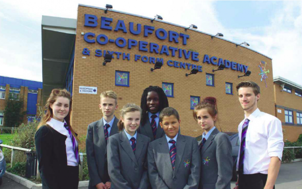 Students outside Beaufort Co-operative Academy in Gloucestershire, the first Schools Co-operative Society academy