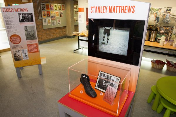 Stanley Matthews' boots at the exhibition