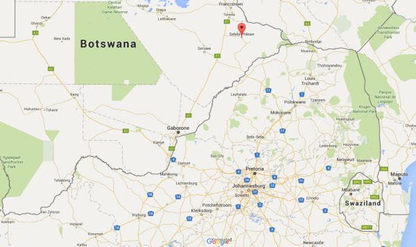 Selebi Phikwe in Botswana, southern Africa. The country became independent from the British Commonwealth in 1966. [image: Google Maps]