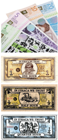 Alternative currencies such as the Bristol Pound (top) and Ithaca HOURS encourage co-operation within communities