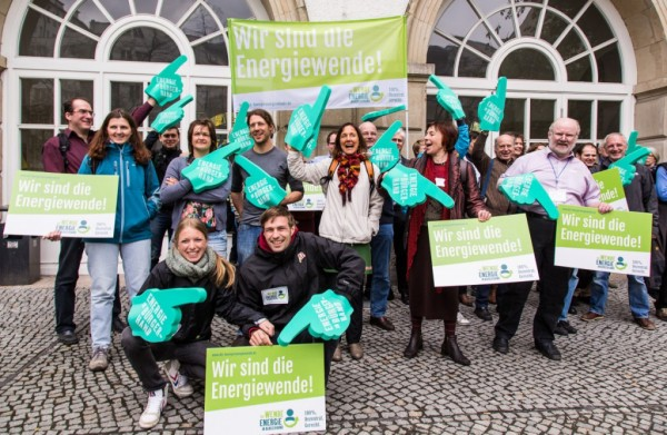 Members of Citizen Energy Berlin, who are in the bidding to run their city's electricity grid